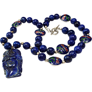 Exquisite Lapis Lazuli, Cloisonne DragonFly, Genuine, Lapis Lazuli Happy Buddha Pendant, Necklace, Earrings
