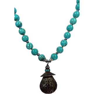 Old Chinese Filigree Brass And Sterling Silver Pendant, With Natural Blue Hubei Chinese Turquoise , With Earrings