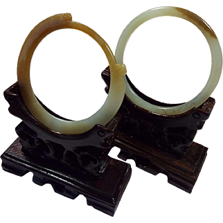 Pair Of Nephrite Jade Thin Bangles