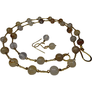 Golden Quartz, 33 Inch, Necklace With Earrings