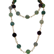 Natural Rose Carved Fluorite, Beaded Necklace, Plus Matching Earrings