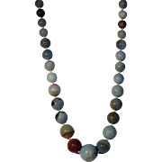 Natural Amazonite Graduated Beaded Necklace, Earrings