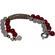 Red And White Trade Bead Bracelet