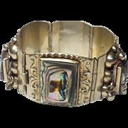 Vintage Taxco Aztec Abalone Carved Panel Bracelet