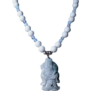 Natural Jadeite Carved Buddha Pendant Bead Necklace With Earrings