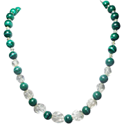Natural Rock Crystal and Malachite Necklace Plus Earrings