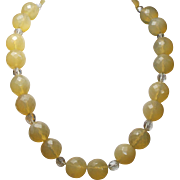 Large Yellow Opal, Natural Rock Crystal Necklace With Crystal Earrings