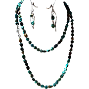 Natural Chinese Turquoise Long Necklace, With Earrings