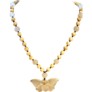 Chalcedony Flower Beaded Necklace Plus Matching Earrings