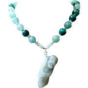 Chinese Mutton Fat Jade, Carved Old Man, Pendant Necklace With Matching Earrings