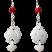 Carved Jadeite Dangle Earrings