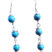 Turquoise, sterling Silver Drop Earrings