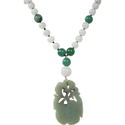 Antique Carved Jade Pendant Beaded Necklace, Earrings