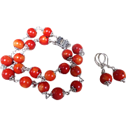 100% Natural Red Sea, Red Coral Bracelet And Earrings