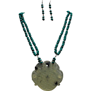 Chinese Nephrite, Double Dragon Pendant, Chinese Turquoise Beads, Earrings