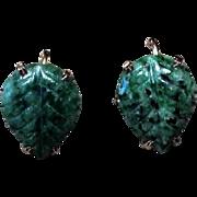 Mottled Green Jade, Screw Back Earrings