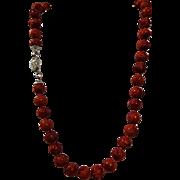 Red - Orange Carved Natural Coral Necklace