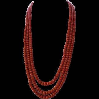 Antique, Edwardian, Salmon Red, Undyed Sardinian Coral, 67 G