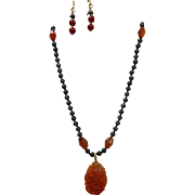 Carved Carnelian Pendant with Natural Imperial Green Jadeite Beads, Earrings