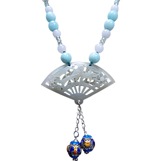 Chinese Open Work Nephrite Pendant With Blue  Jade Beads Necklace
