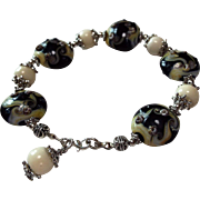 Lampwork, Black And Cream Colored Bracelet