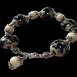 Lampwork, Black And Cream Colored Bracelet