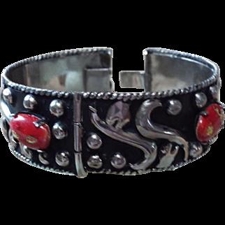 Black And Red Enamel, Cuff Bracelet