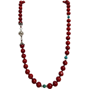 Vintage Natural Mediterranean Dark Red Coral, With Turquoise
