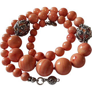 Natural Momo Coral Necklace, Pale Rose color,Large Beads
