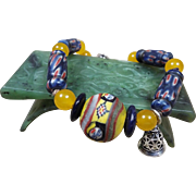 Hand Painted , Islamic Old Egyptian Glass bead Bracelet