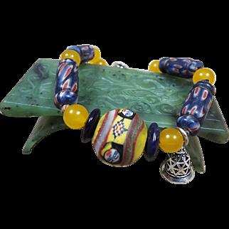 Hand Painted , Islamic Old Egyptian Glass bead Bracelet