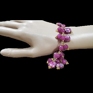 Painted Porcelain, Glass Beads  Bracelet