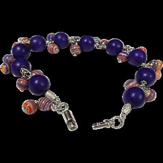 Dark Purple with Pink And Purple Swirl Dangle Beads Bracelet