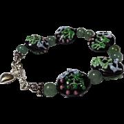 Green and Black Lampwork Beaded Bracelet