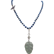 Egyptian Lapis Lazuli With Jadeite Pendant And Earrings