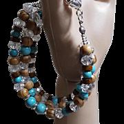 Wood,Crystal, Howlite Turquoise Bracelet