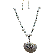 Chinese Cloisonne Shell Pendant, With Jadeite And Porcelain Beads Necklace Plus Earrings