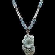 Carved Amazonite Morning Glory Necklace