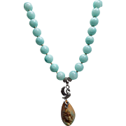 Druzy Agate, With 925 Sterling Silver Swan Bail, Jadeite Beaded Necklace
