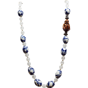 Chinese Porcelain, Figure Beads With Nephrite Jade And Netsuke, Necklace And Earrings