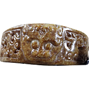 Very Old, Natural Nephrite Brown Ornamental Openwork,With Three Taotie Mask Applique, Bangle