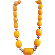 Huge, Amber Colored, Resin Beaded Necklace