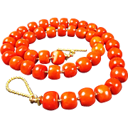 Natural, Italian Mediterranean Deep Red Coral Necklace