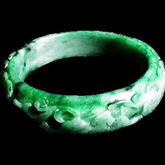Carved Jadeite Green Translucent Bangle