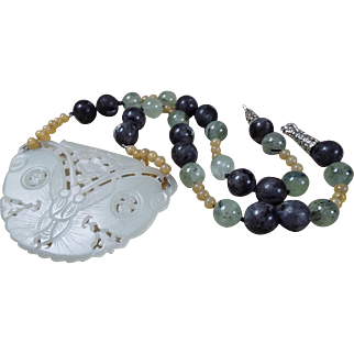 Huge, Celadon Green Nephrite Jade Moth Pendant, Necklace, Earrings