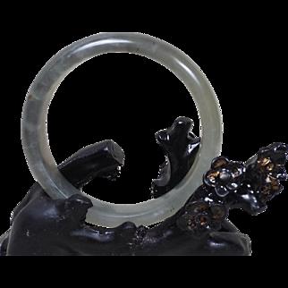 Nephrite Celadon Nephrite Jade Bangle, Size M