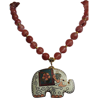 Chinese Enamel Cloisonne Elephant Necklace With Earrings