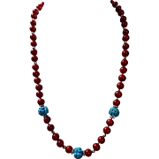 Deep Sea Red Coral With Turquoise Necklace, Earrings