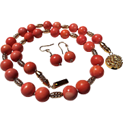 Rose Color Natural Momo Coral Necklace, Earrings