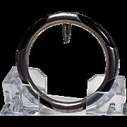 Natural Black Onyx , Etched Sterling Silver Encased, Hinged Bangle